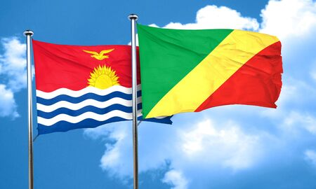 Congo: Kiribati flag with congo flag, 3D rendering Stock Photo