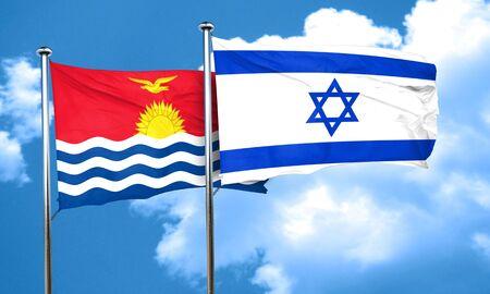 kiribati: Kiribati flag with Israel flag, 3D rendering Stock Photo