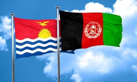 afghanistan flag: Kiribati flag with afghanistan flag, 3D rendering