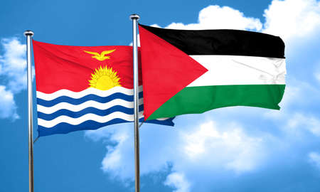 flag: Kiribati flag with Palestine flag, 3D rendering