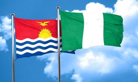 kiribati: Kiribati flag with Nigeria flag, 3D rendering