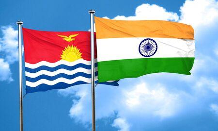 kiribati: Kiribati flag with India flag, 3D rendering