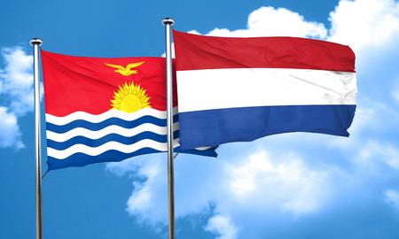 netherlands flag: Kiribati flag with Netherlands flag, 3D rendering