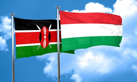 kenya: Kenya flag with Hungary flag, 3D rendering
