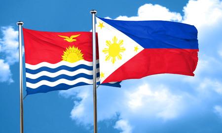 philippino: Kiribati flag with Philippines flag, 3D rendering
