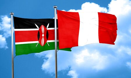 kenya: Kenya flag with Peru flag, 3D rendering Stock Photo