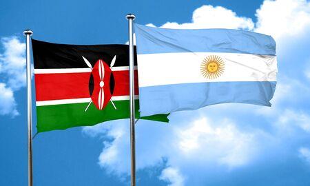 argentine: Kenya flag with Argentine flag, 3D rendering