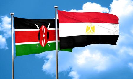 bandera de egipto: bandera de Kenia con la bandera de Egipto, 3D