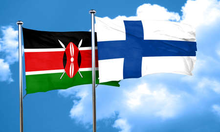 kenya: Kenya flag with Finland flag, 3D rendering Stock Photo