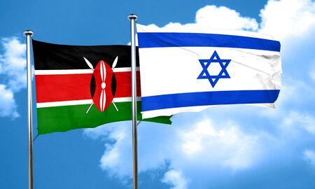 israel flag: Kenya flag with Israel flag, 3D rendering Stock Photo