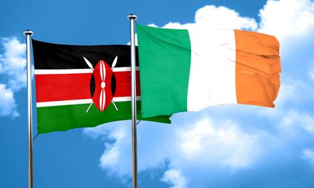 kenya: Kenya flag with Ireland flag, 3D rendering