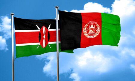 Kenya flag with afghanistan flag, 3D rendering
