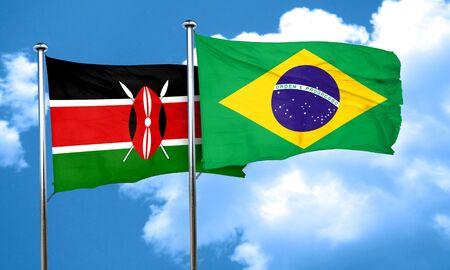 kenya: Kenya flag with Brazil flag, 3D rendering