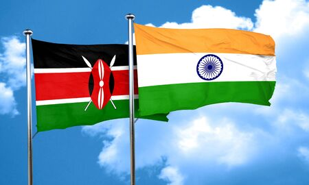 india 3d: Kenya flag with India flag, 3D rendering