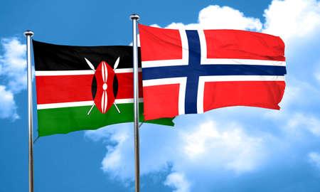 norway flag: Kenya flag with Norway flag, 3D rendering
