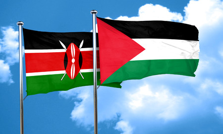 flag: Kenya flag with Palestine flag, 3D rendering Stock Photo