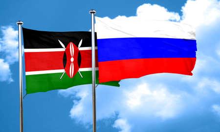 kenya: Kenya flag with Russia flag, 3D rendering