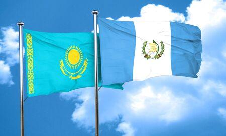 bandera de guatemala: bandera de Kazajist�n con la bandera de Guatemala, 3D Foto de archivo