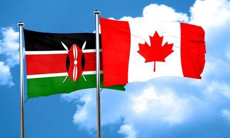kenya: Kenya flag with Canada flag, 3D rendering