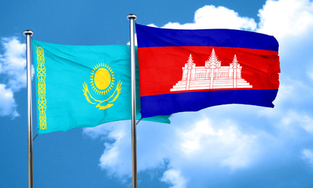 cambodian flag: Kazakhstan flag with Cambodia flag, 3D rendering Stock Photo