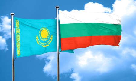 kazakhstan: Kazakhstan flag with Bulgaria flag, 3D rendering Stock Photo