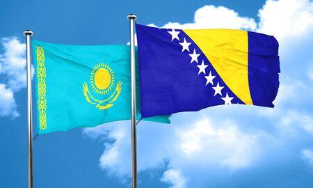 bosnia and herzegovina flag: Kazakhstan flag with Bosnia and Herzegovina flag, 3D rendering Stock Photo