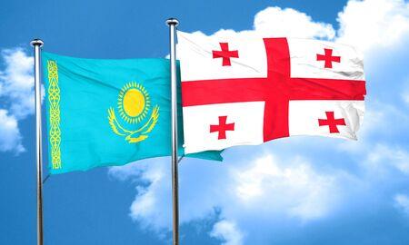 kazakhstan: Kazakhstan flag with Georgia flag, 3D rendering