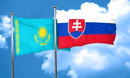 slovakia flag: Kazakhstan flag with Slovakia flag, 3D rendering
