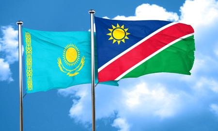 kazakhstan: Kazakhstan flag with Namibia flag, 3D rendering