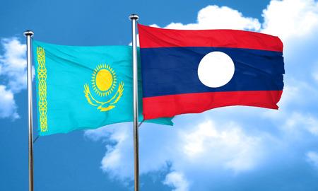 kazakhstan: Kazakhstan flag with Laos flag, 3D rendering