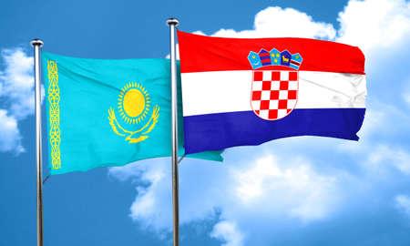croatia flag: Kazakhstan flag with Croatia flag, 3D rendering Stock Photo