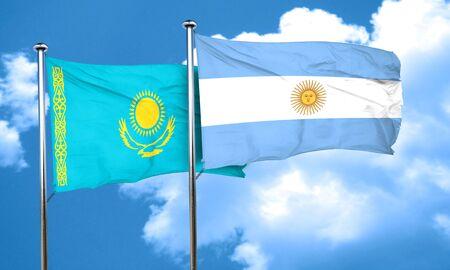 argentine: Kazakhstan flag with Argentine flag, 3D rendering