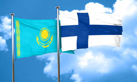 finland flag: Kazakhstan flag with Finland flag, 3D rendering Stock Photo