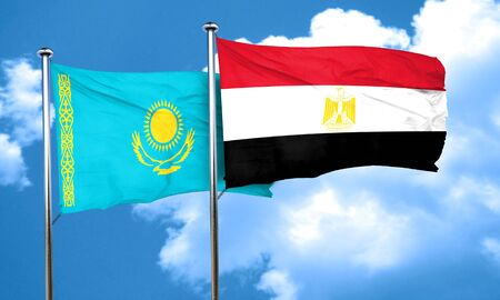 egypt flag: Kazakhstan flag with egypt flag, 3D rendering Stock Photo