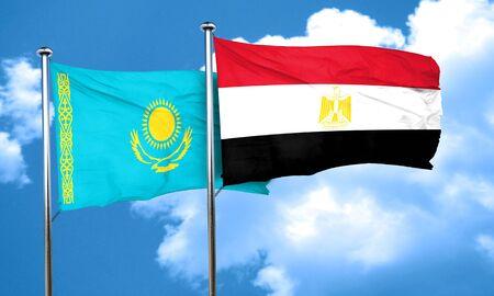 egypt flag: Kazakhstan flag with egypt flag, 3D rendering Stock Photo