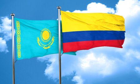 bandera de colombia: bandera de Kazajist�n con la bandera de Colombia, 3D