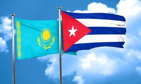 cuba flag: Kazakhstan flag with cuba flag, 3D rendering