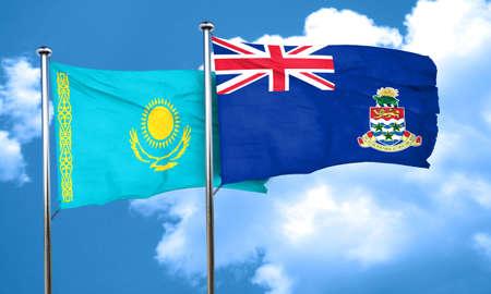 cayman: Kazakhstan flag with Cayman islands flag, 3D rendering Stock Photo