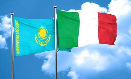 kazakhstan: Kazakhstan flag with Italy flag, 3D rendering