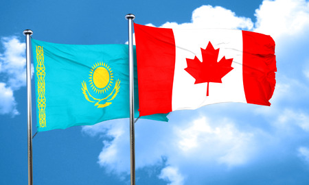 kazakhstan: Kazakhstan flag with Canada flag, 3D rendering