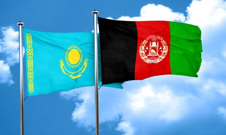 afghan: Kazakhstan flag with afghanistan flag, 3D rendering