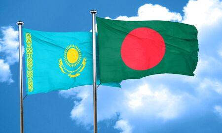 bangladesh: Kazakhstan flag with Bangladesh flag, 3D rendering