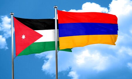 jordan: Jordan flag with Armenia flag, 3D rendering Stock Photo