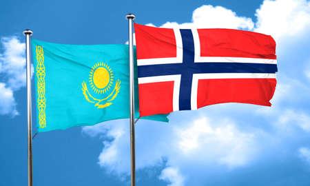 norway flag: Kazakhstan flag with Norway flag, 3D rendering