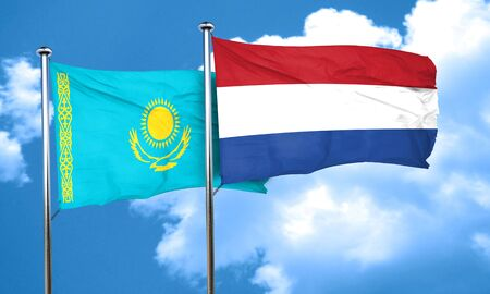 netherlands flag: Kazakhstan flag with Netherlands flag, 3D rendering Stock Photo