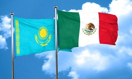kazakhstan: Kazakhstan flag with Mexico flag, 3D rendering Stock Photo