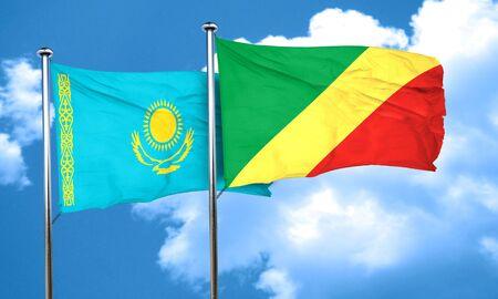 congo: Kazakhstan flag with congo flag, 3D rendering