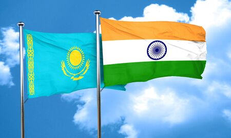 india 3d: Kazakhstan flag with India flag, 3D rendering