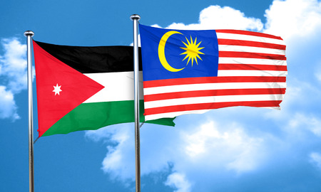 jordan: Jordan flag with Malaysia flag, 3D rendering