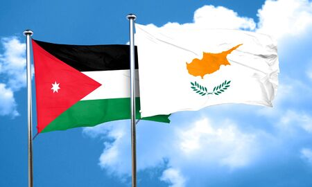 jordan: Jordan flag with Cyprus flag, 3D rendering Stock Photo